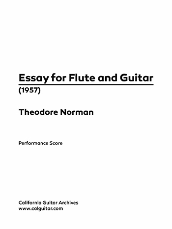 Theodore Norman: Essay for Flute and Guitar